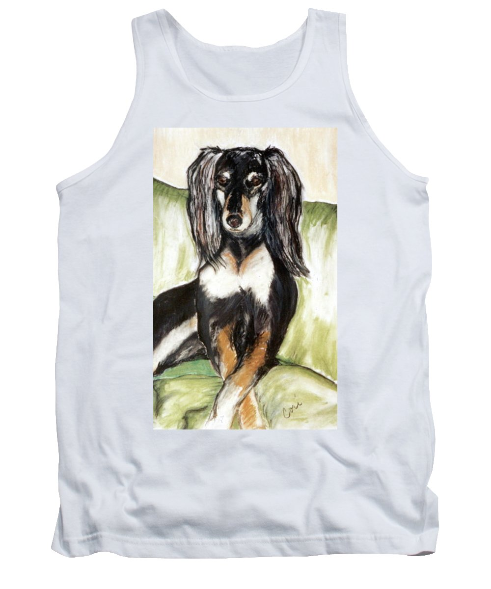 Dog Tank Top featuring the drawing Proud Girl by Cori Solomon