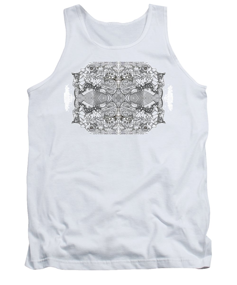 Drawing Tank Top featuring the drawing Puff by Daniel Rustad