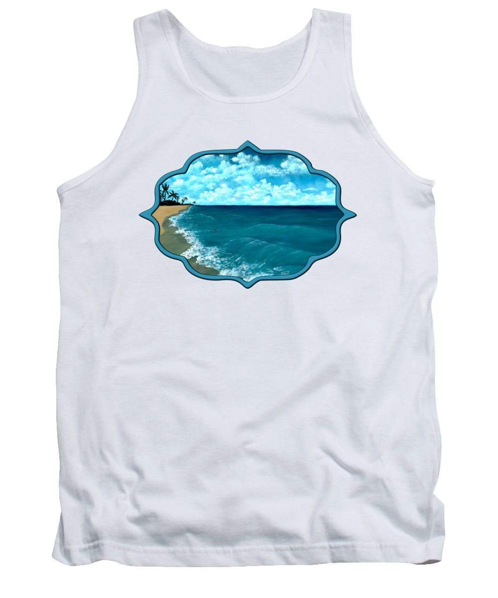 Blue Tank Top featuring the painting Punta Cana Beach by Anastasiya Malakhova