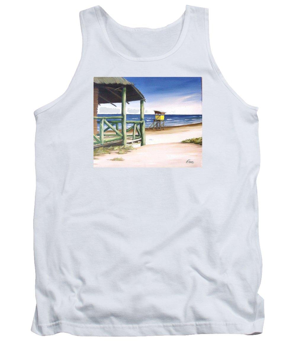 Seascape Beach Landscape Water Ocean Tank Top featuring the painting Punta Del Diablo S Morning by Natalia Tejera