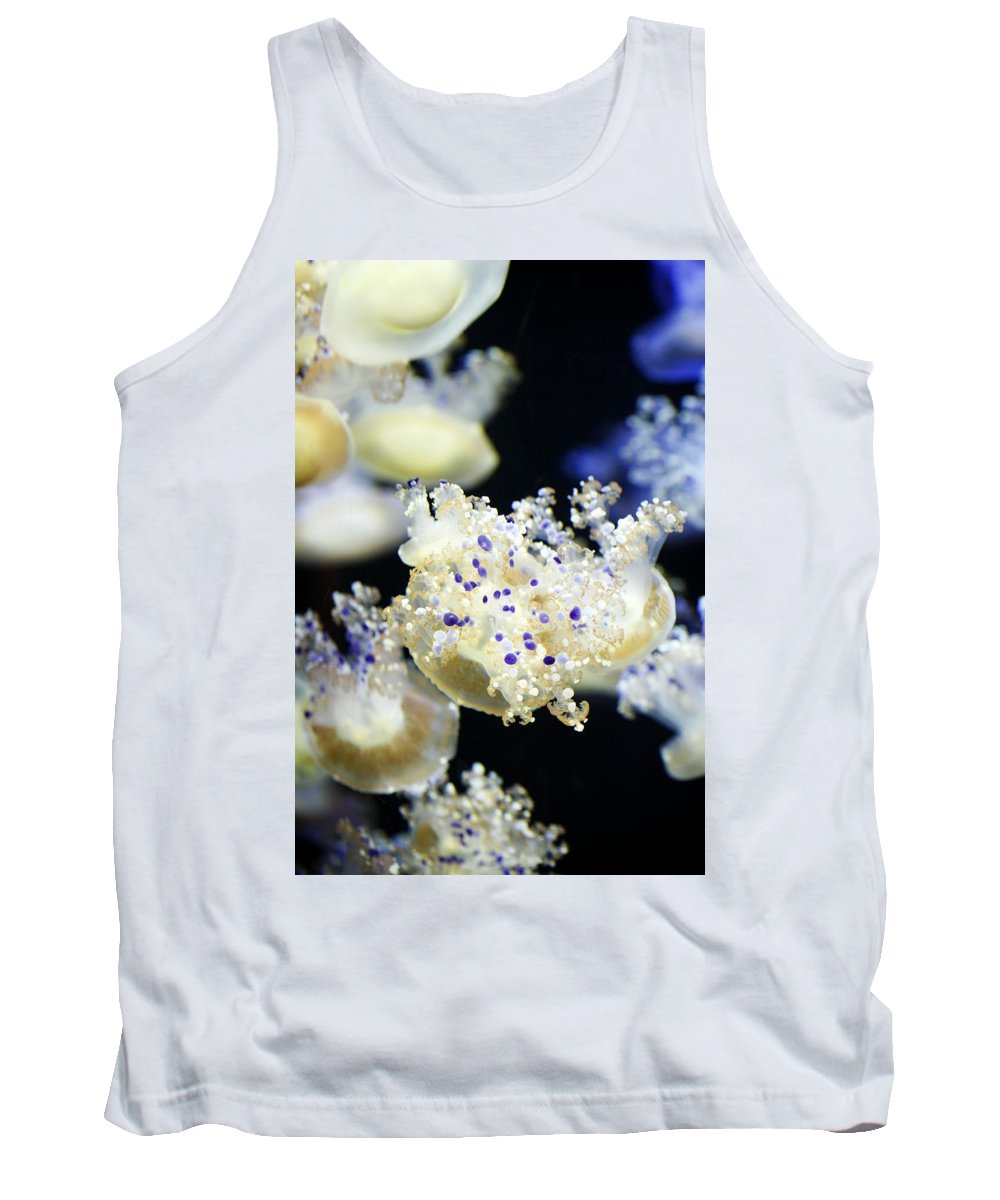 Animal Tank Top featuring the photograph Purple Spotted Jellyfish by Marilyn Hunt