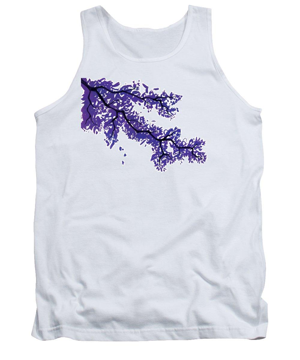 Tree Tank Top featuring the drawing Purple Tree by Lee Gelwicks