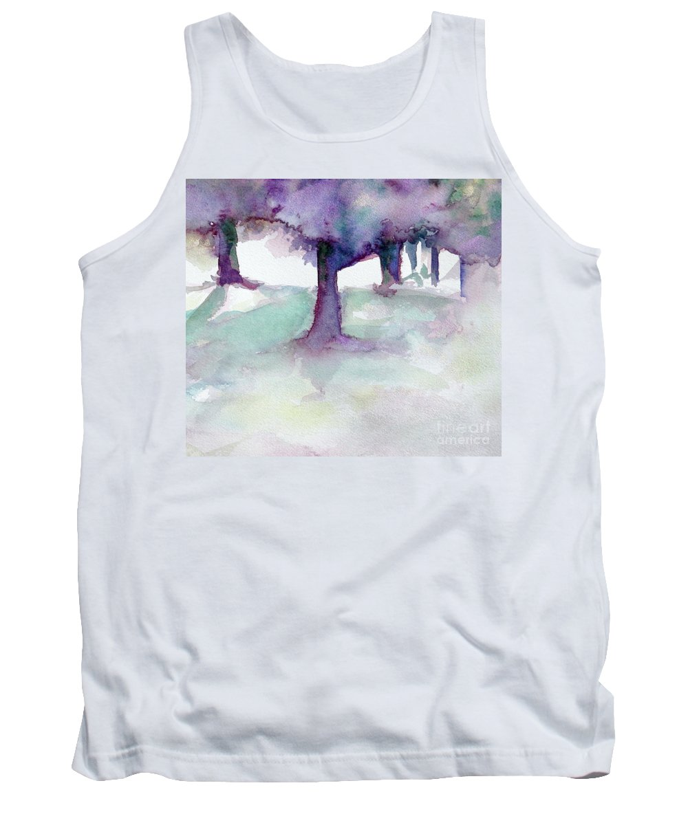 Landscape Tank Top featuring the painting Purplescape II by Jan Bennicoff