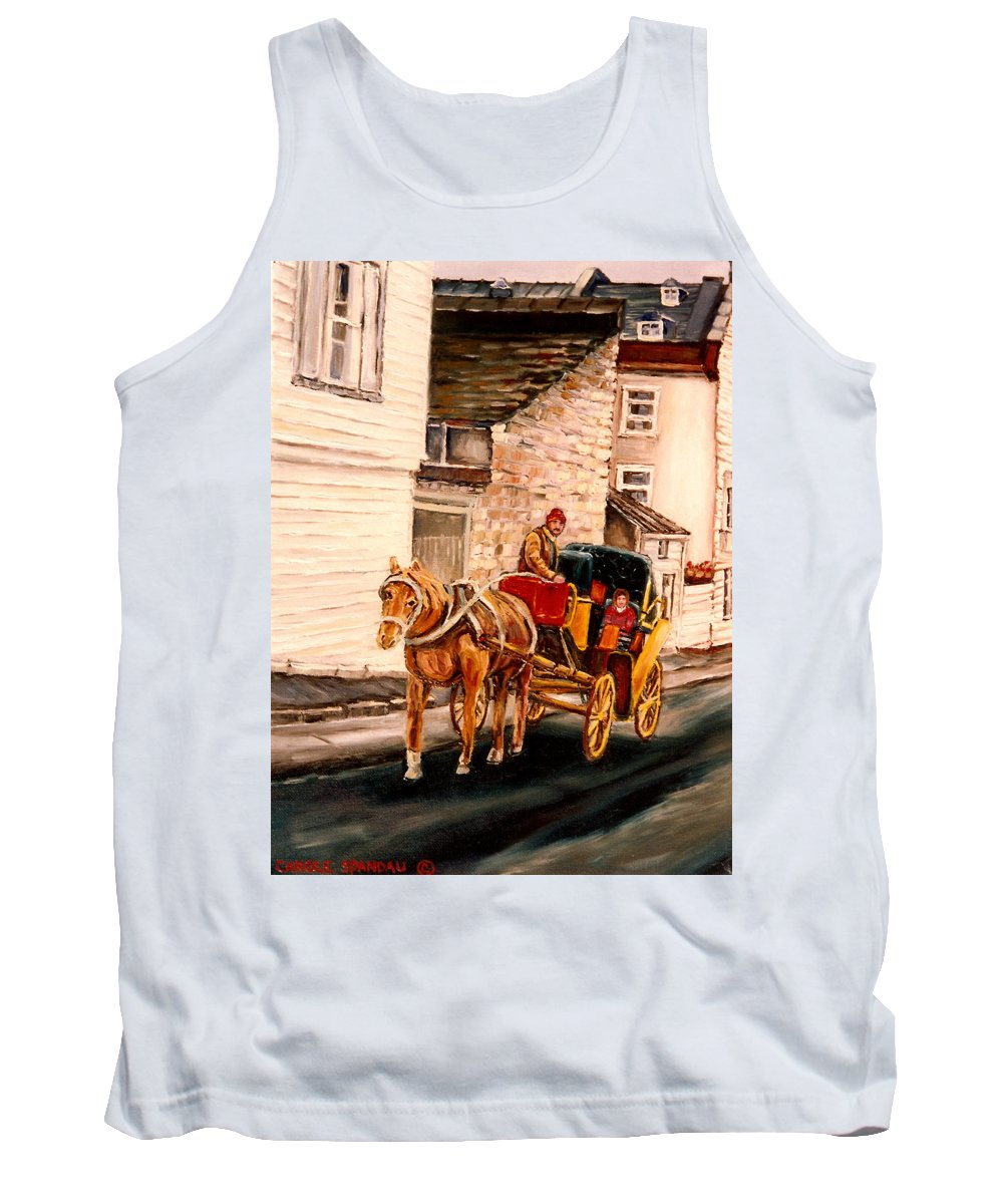 Quebec City Carriage Ride Tank Top featuring the painting Quebec City Carriage Ride by Carole Spandau