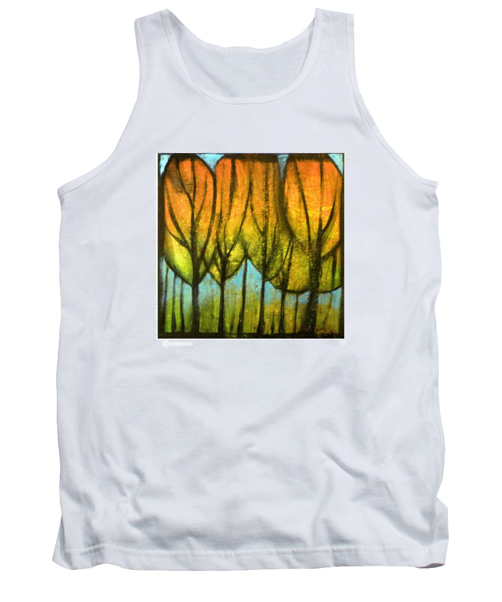 Trees Tank Top featuring the painting Quiet Blaze by Tim Nyberg