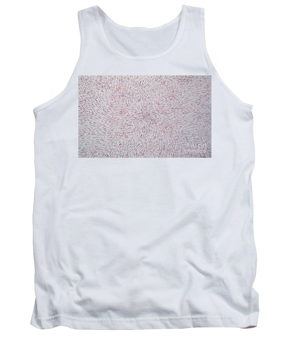 Abstract Tank Top featuring the painting Radiation With Black And Red by Dean Triolo