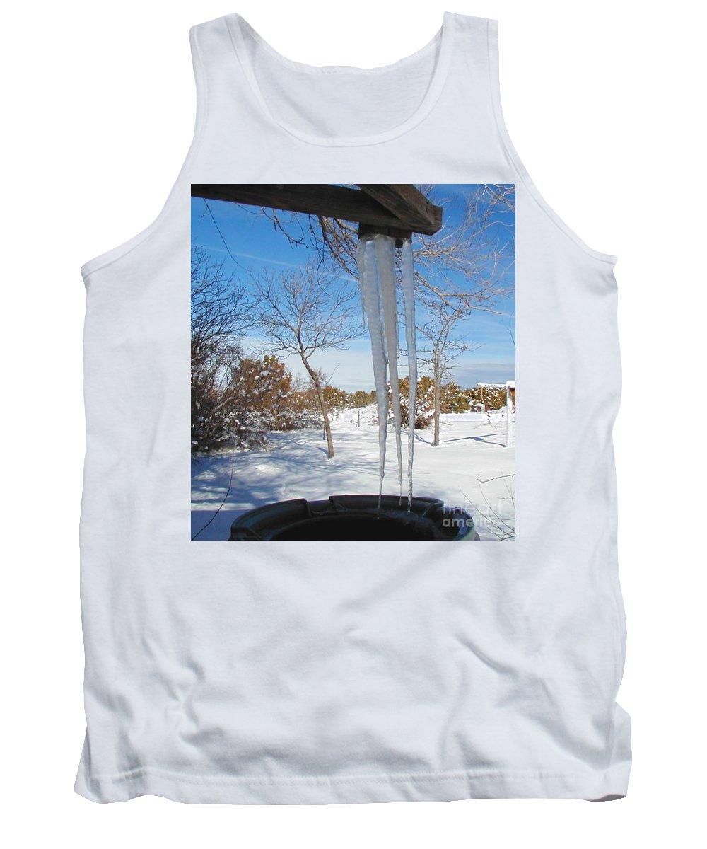 Icicle Tank Top featuring the photograph Rain Barrel Icicle by Diana Dearen
