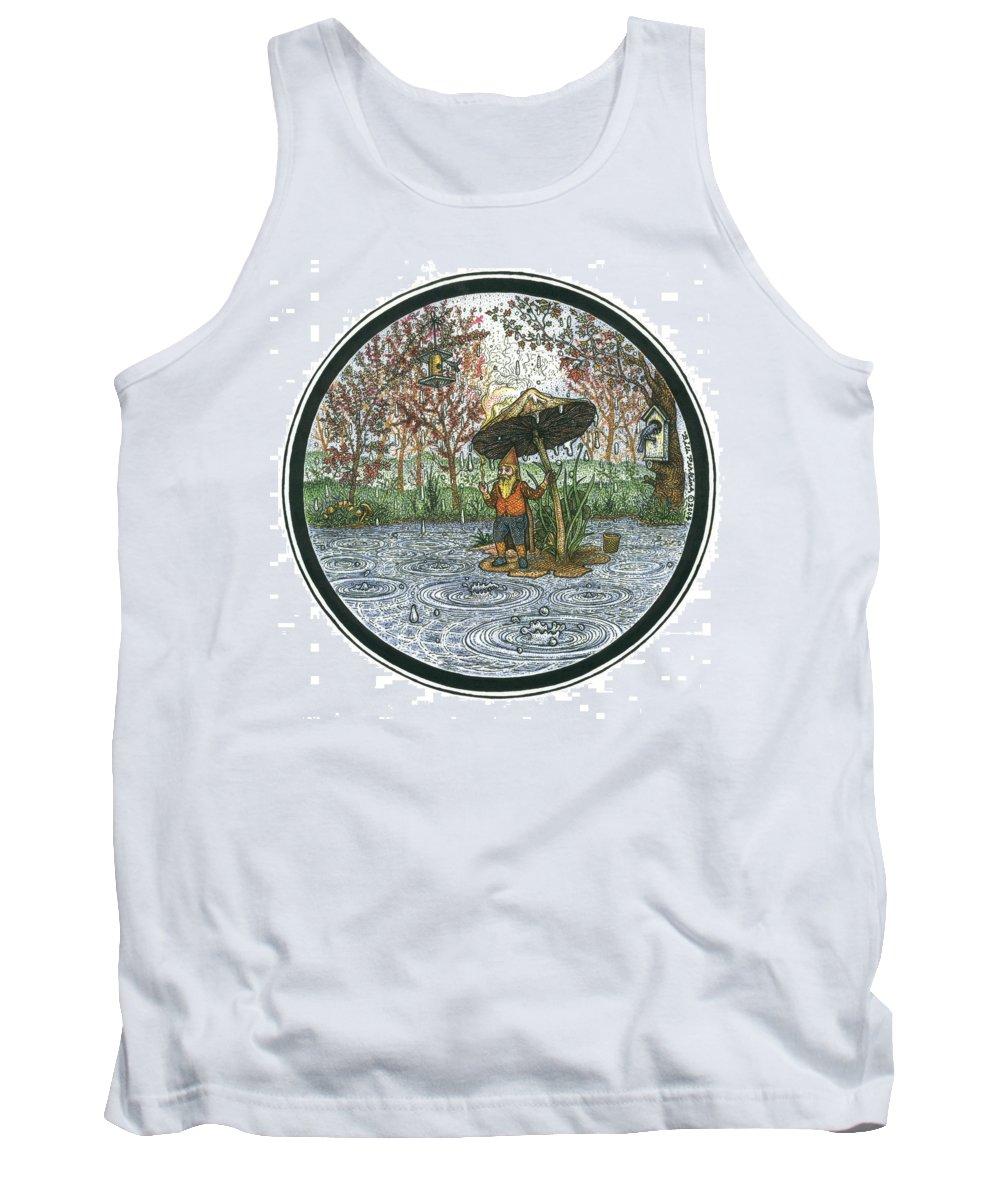 Rain Tank Top featuring the drawing Rain Gnome Rain Circle by Bill Perkins