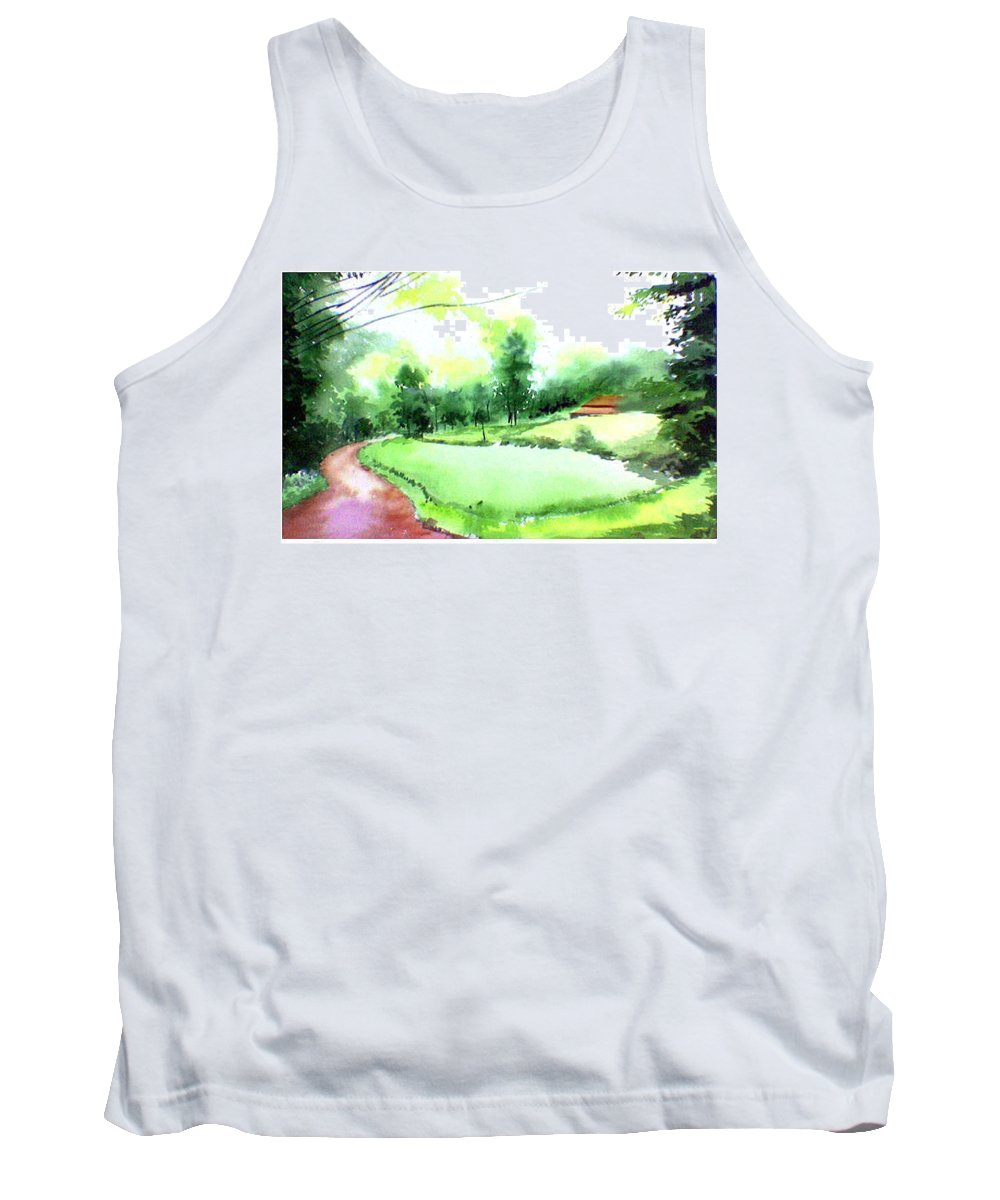 Landscape Tank Top featuring the painting Rains In West by Anil Nene