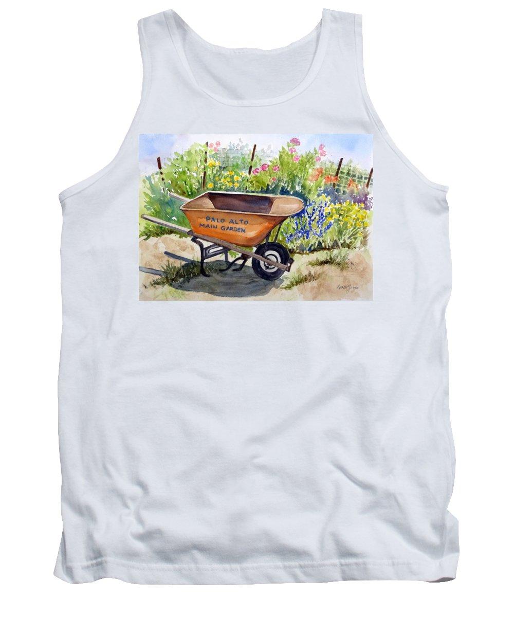Garden Wheelbarrow Tank Top featuring the painting Ready At The Main Garden by Anna Jacke