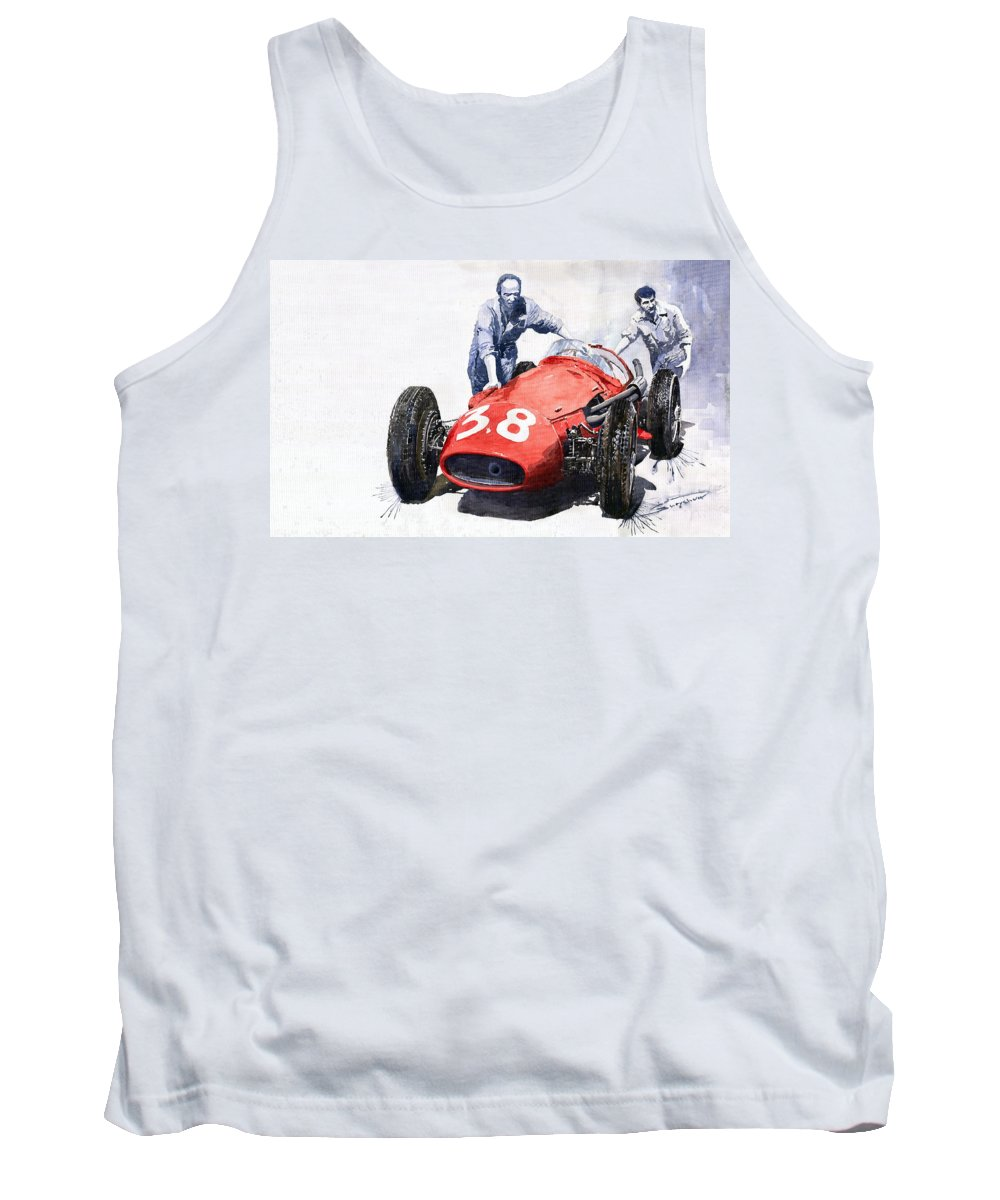 Watercolour Tank Top featuring the painting Ready For Racing Maserati 250 F by Yuriy Shevchuk