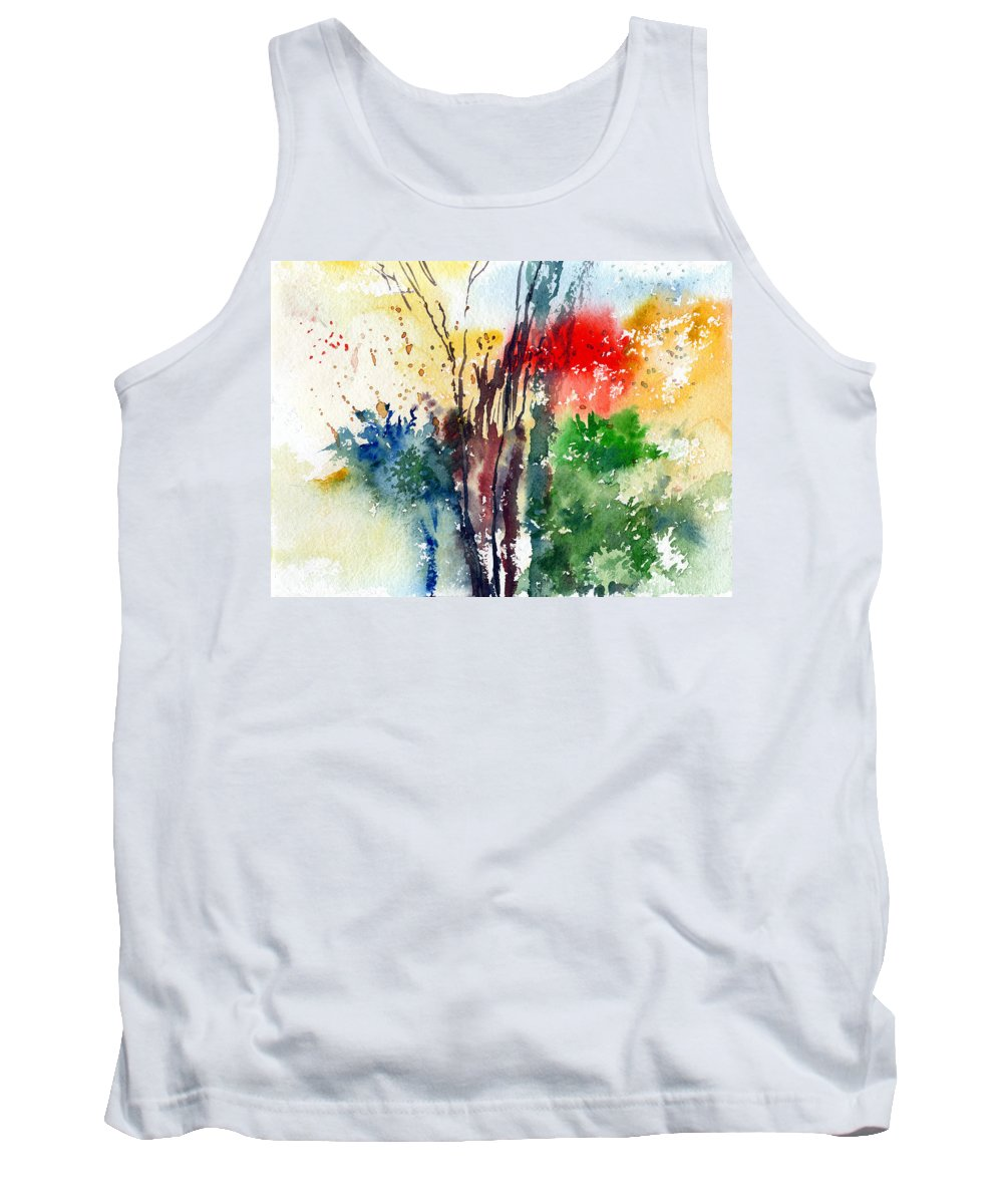 Watercolor Tank Top featuring the painting Red And Green by Anil Nene