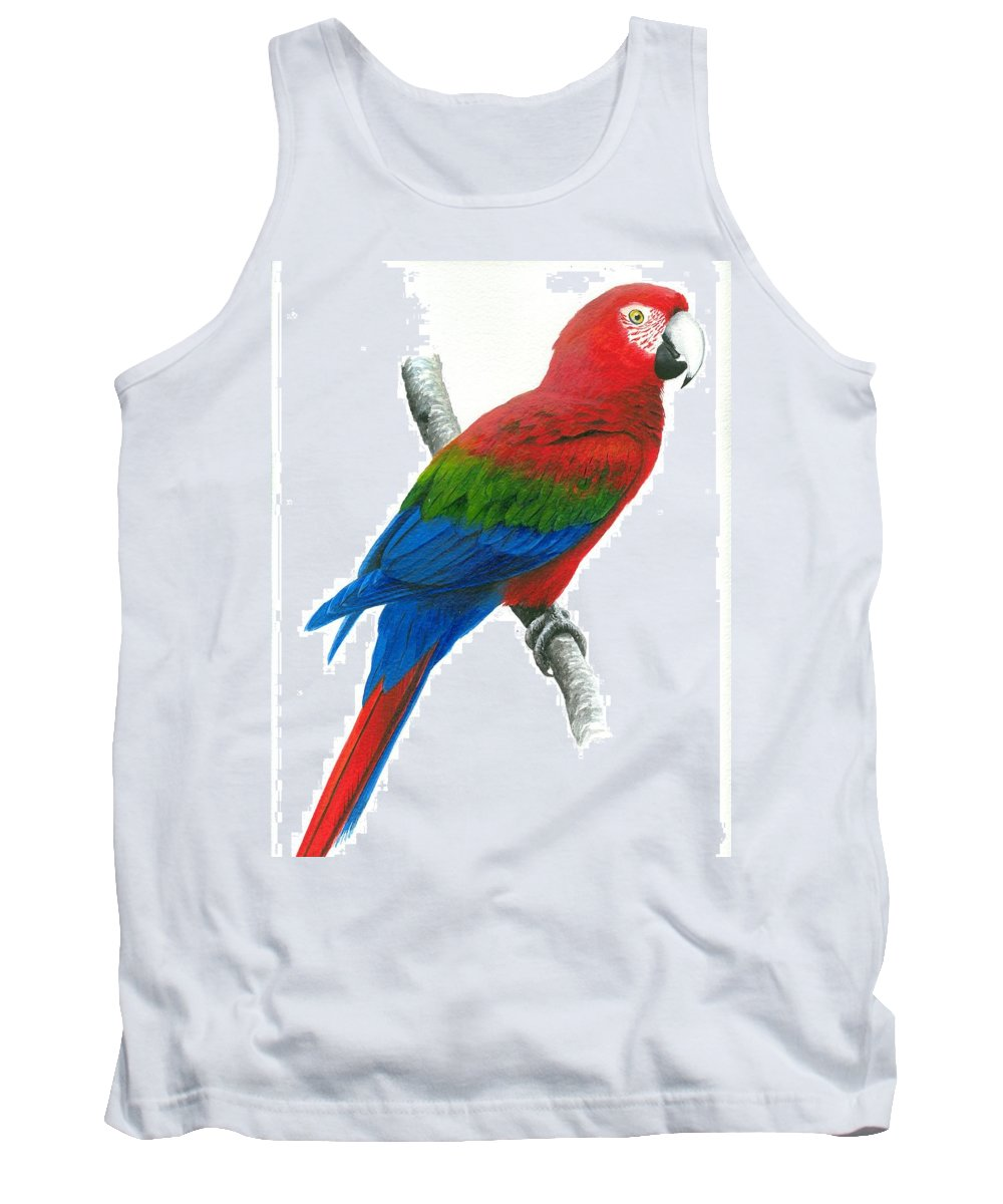 Chris Cox Tank Top featuring the painting Red And Green Macaw by Christopher Cox