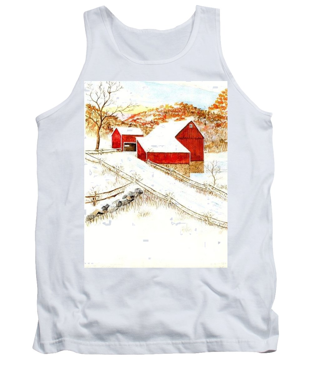 Tank Top featuring the painting Red Barns by George Lambert