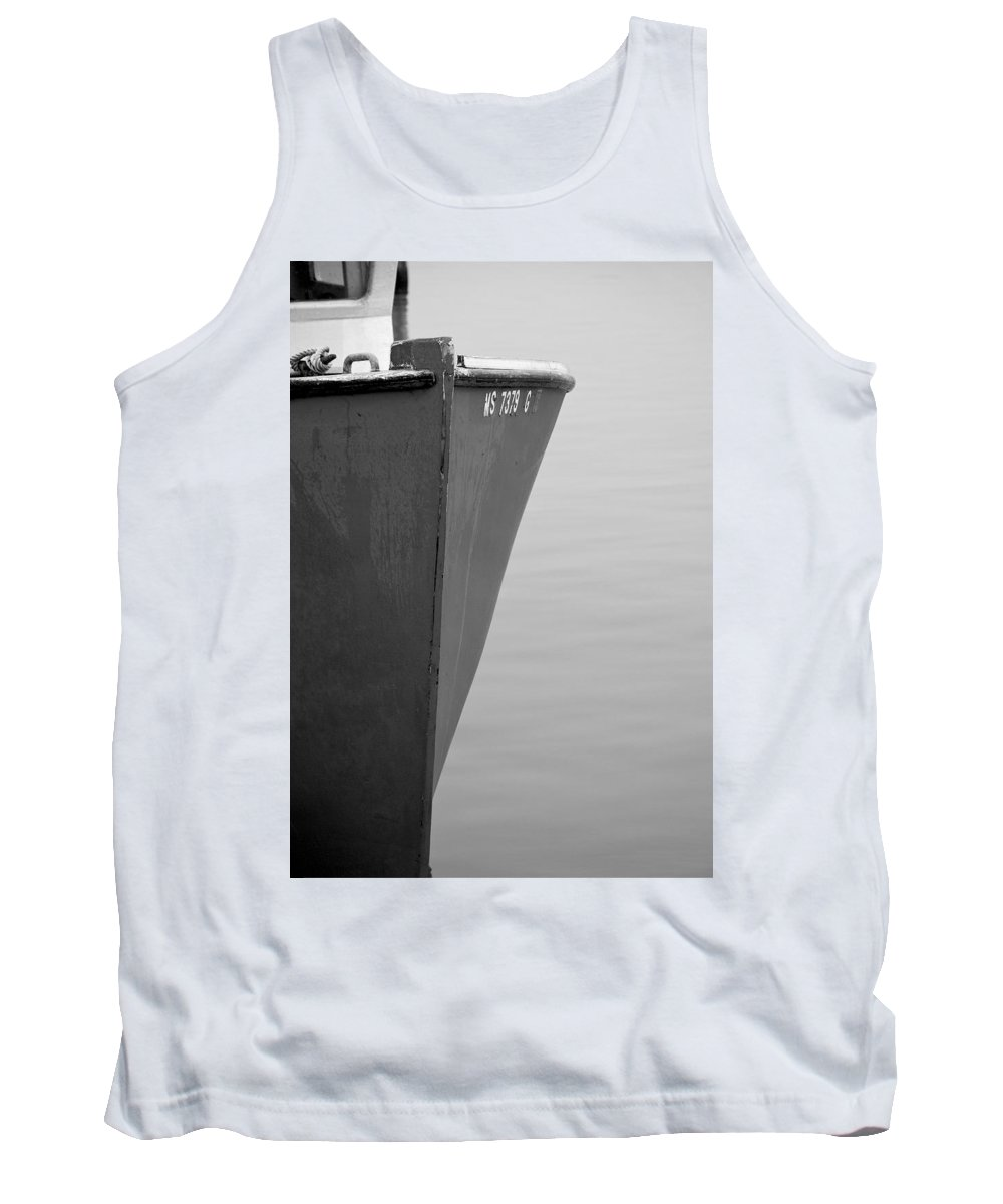 Boat Tank Top featuring the photograph Red Boat In Black And White by Charles Harden