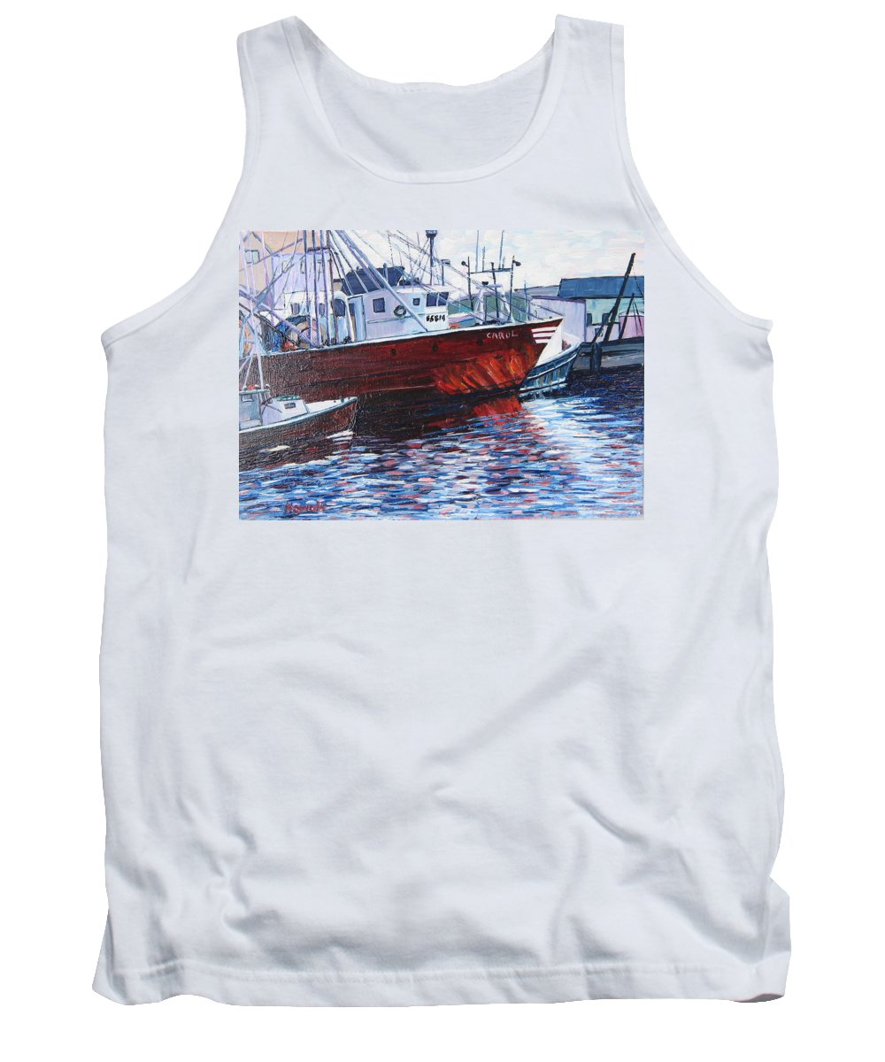 Boats Tank Top featuring the painting Red Boats by Richard Nowak