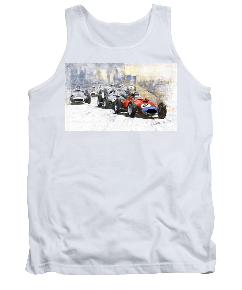Watercolour Tank Top featuring the painting 1957 Red Car Ferrari 801 German Gp 1957 by Yuriy Shevchuk