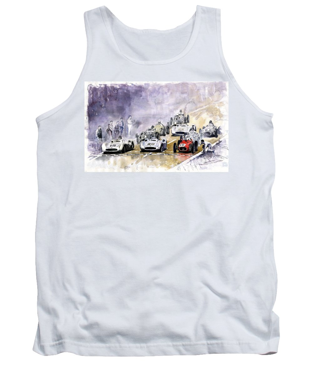 Watercolour Tank Top featuring the painting 1954 Red Car Maserati 250 France Gp by Yuriy Shevchuk