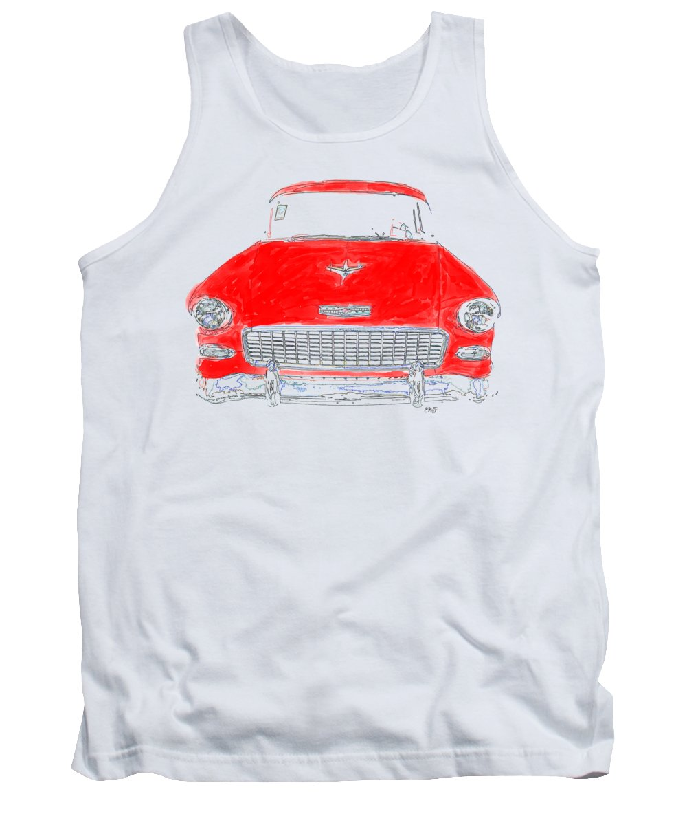 Tee Tank Top featuring the drawing Red Chevy T-shirt by Edward Fielding