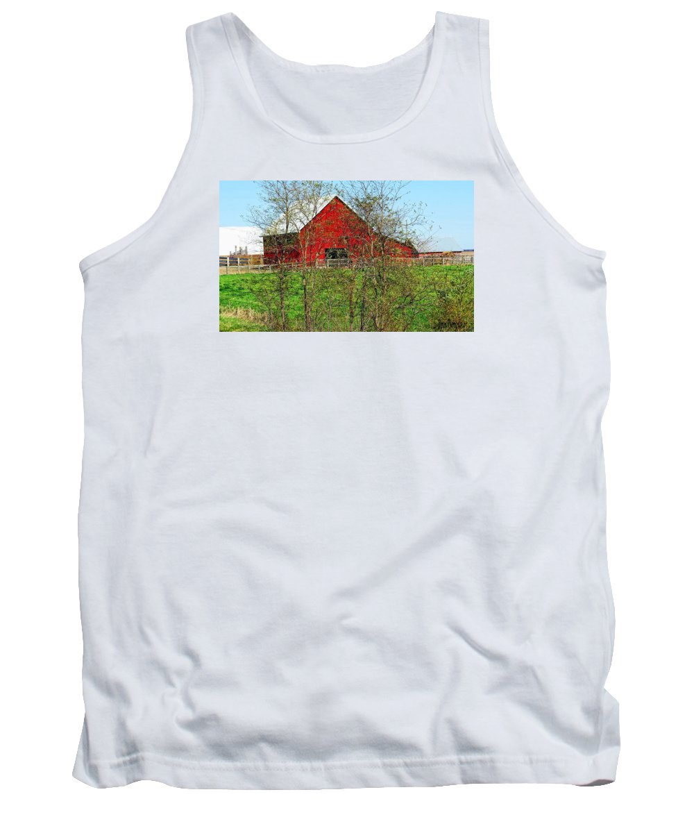Photography; Photograph; Photo; Picture; Barn; Red; Country; Rural; Landscape; Old; Art Tank Top featuring the photograph Red by Lu Brown