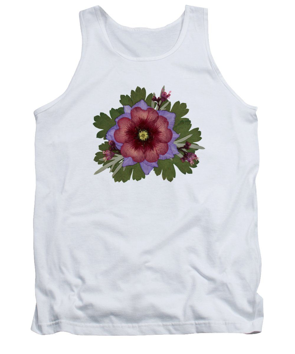 Potentilla Pressed Flowers Arrangement Garden Flowers Dried Flowers Floral Tank Top featuring the photograph Red Open Faced Potentilla Pressed Flower Arrangement by Em Witherspoon