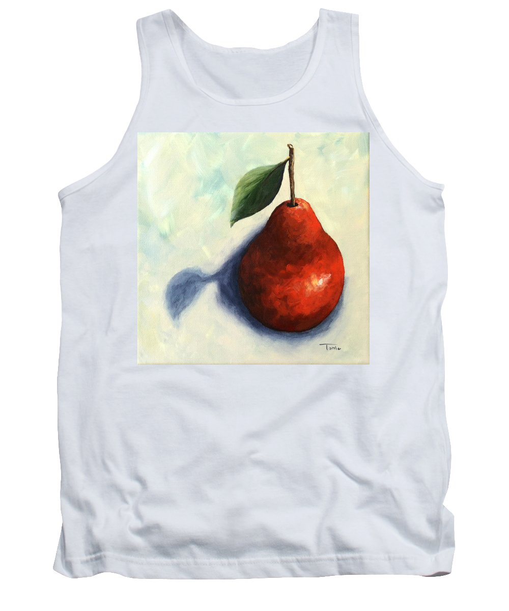 Pear Tank Top featuring the painting Red Pear in the Spotlight by Torrie Smiley