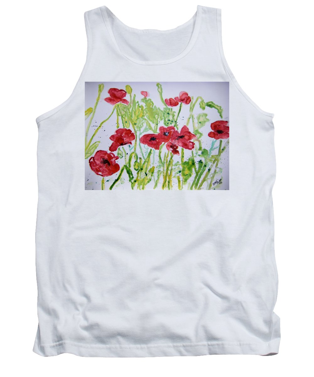 Poppy Tank Top featuring the painting Red Poppy Flowers by Derek Mccrea