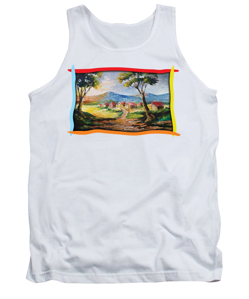 House Tank Top featuring the painting Red Roofs by Anthony Mwangi