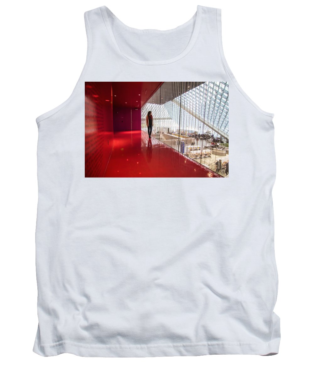 Seattle Tank Top featuring the photograph Red Room Views At The Seattle Central Library by Matt McDonald