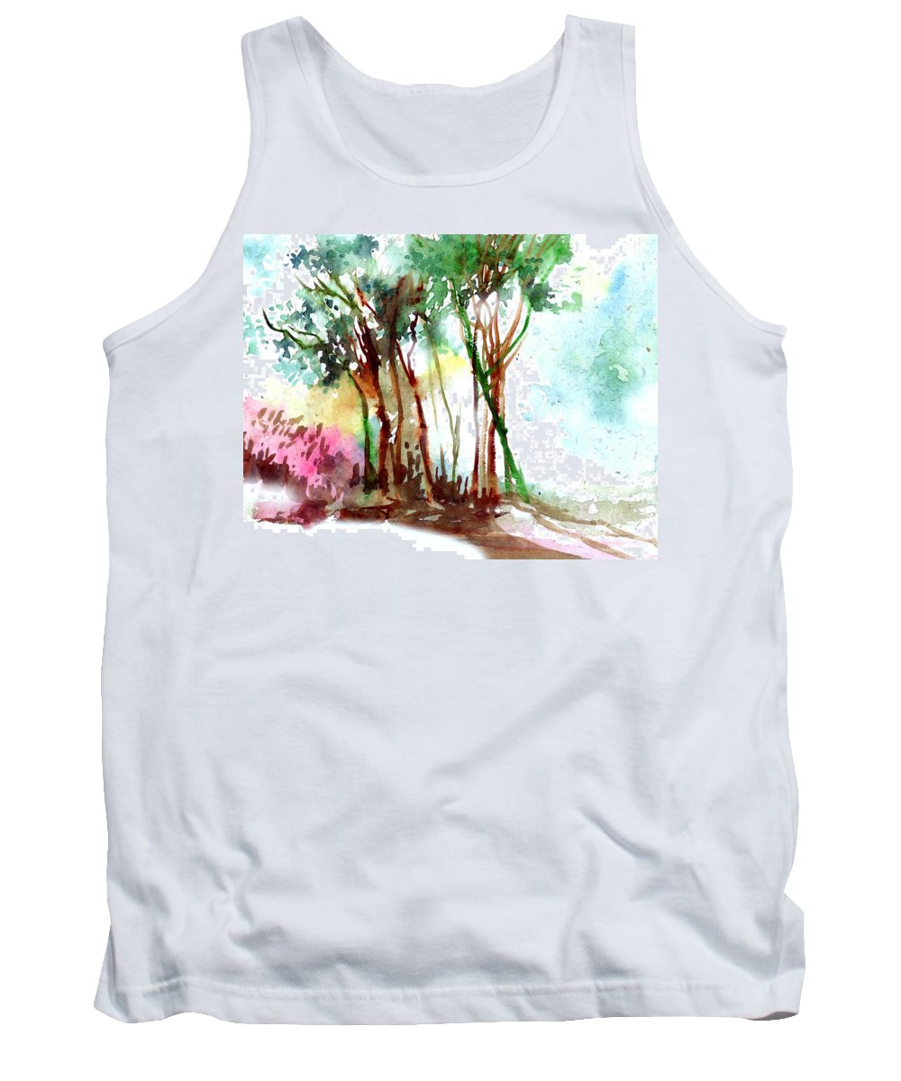 Landscape Tank Top featuring the painting Red Trees by Anil Nene
