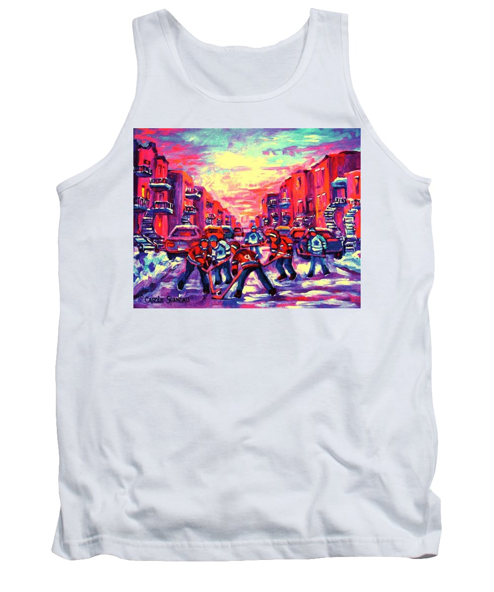 Hockey Game Tank Top featuring the painting Red White And Blue by Carole Spandau
