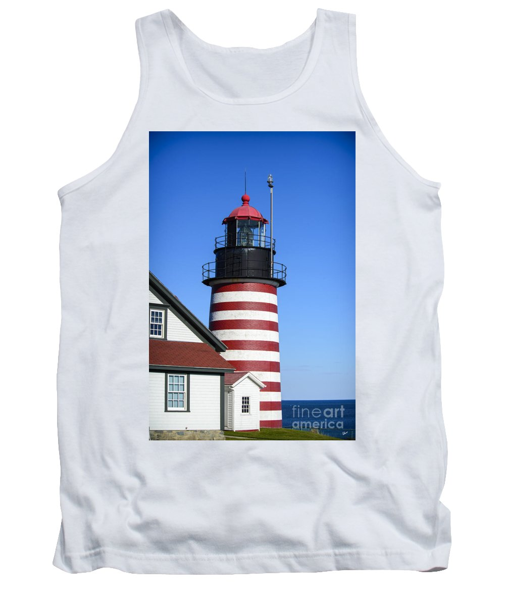 Downeast Tank Top featuring the photograph Red White Striped Lighthouse by Alana Ranney