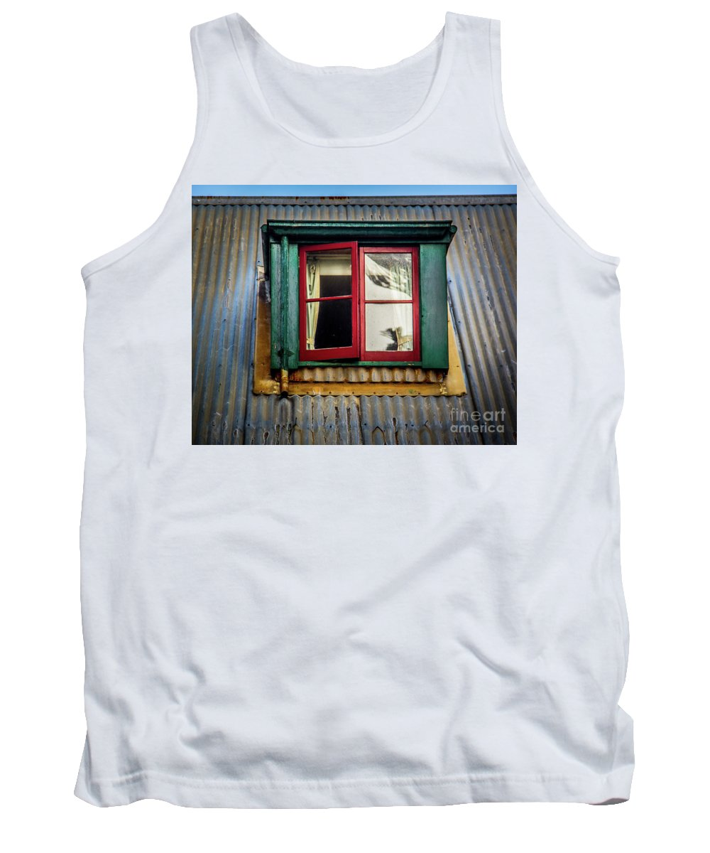 Red Tank Top featuring the photograph Red Windows by Perry Webster
