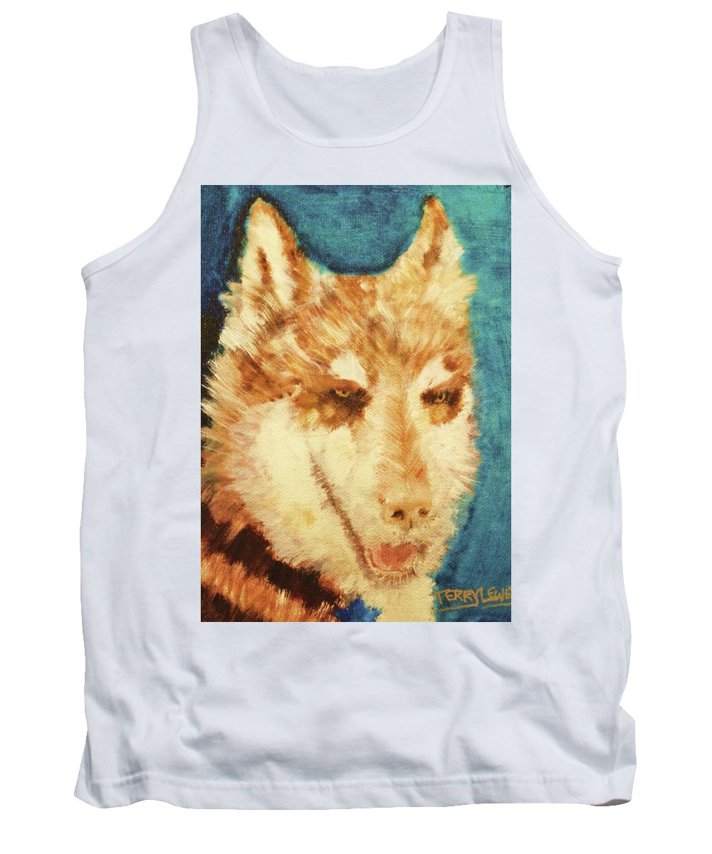 Wolf Tank Top featuring the painting Red's Wolf by Terry Lewey