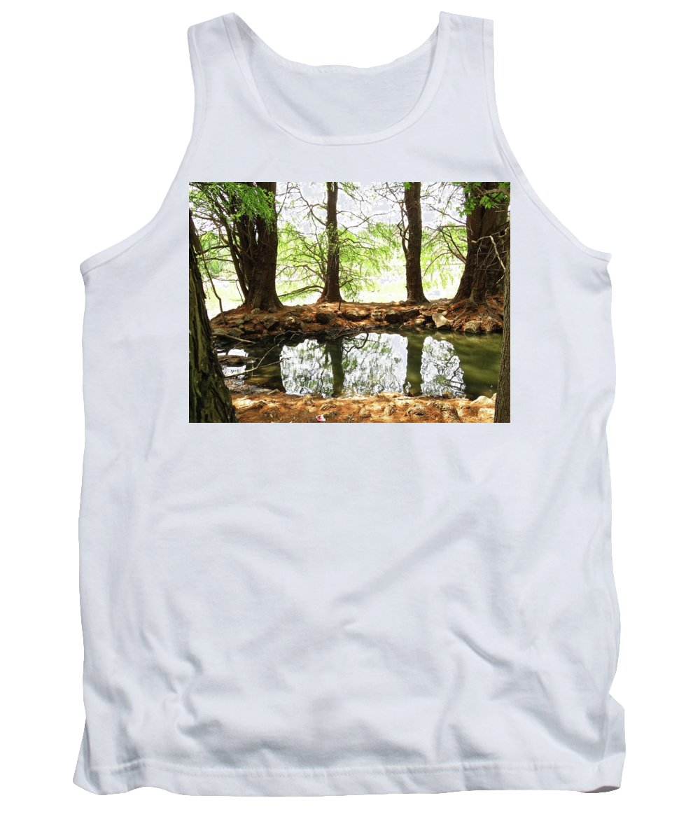 Nature Tank Top featuring the photograph Reflecting Tree Trunks by Joan Laine