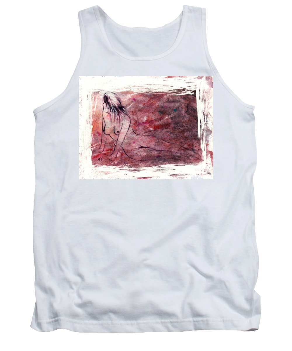 Nude Tank Top featuring the painting Reflection by Rachel Christine Nowicki