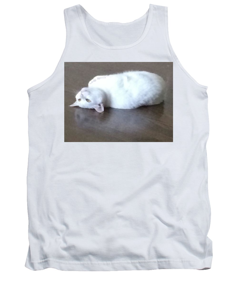 Cat Tank Top featuring the photograph Reflective Maitri by Annette Hadley