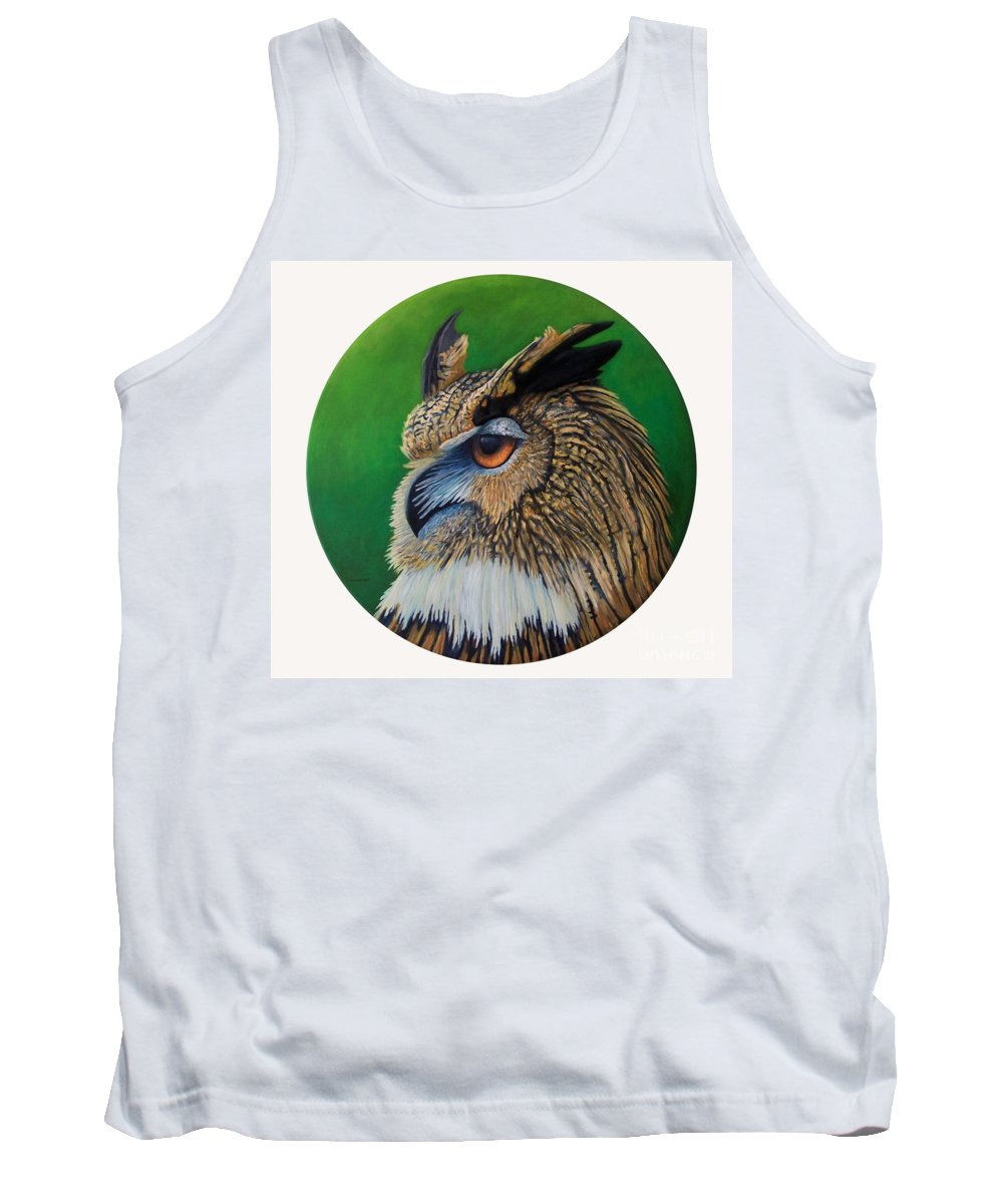 Owl Tank Top featuring the painting Regal Gaze by Brian Commerford