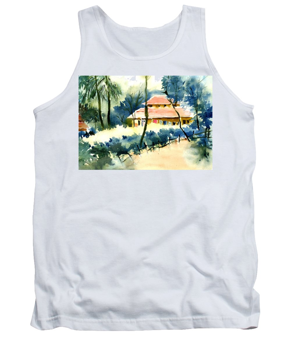 Landscape Tank Top featuring the painting Rest House by Anil Nene