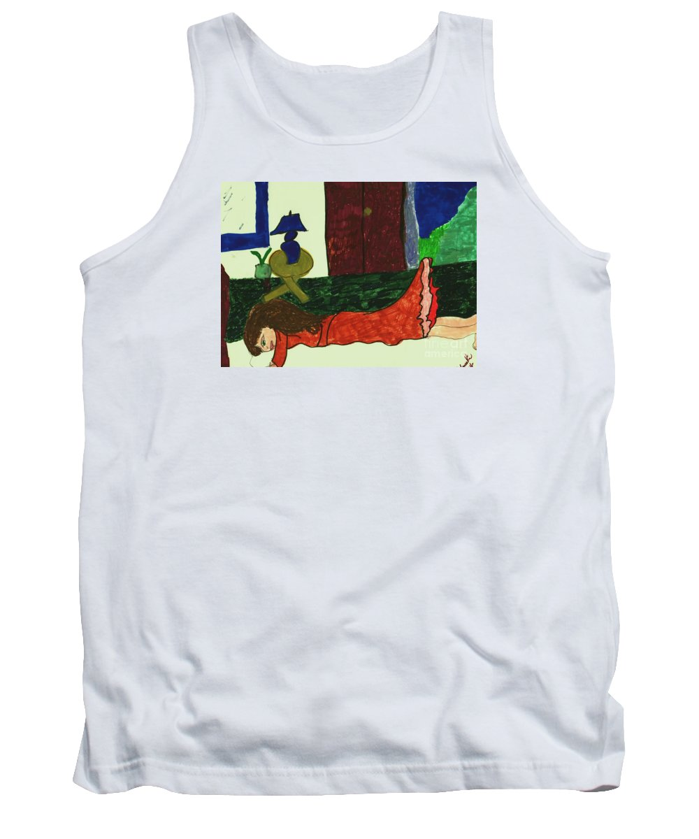 Girl Resting On A Bed Tank Top featuring the mixed media Resting by Elinor Helen Rakowski