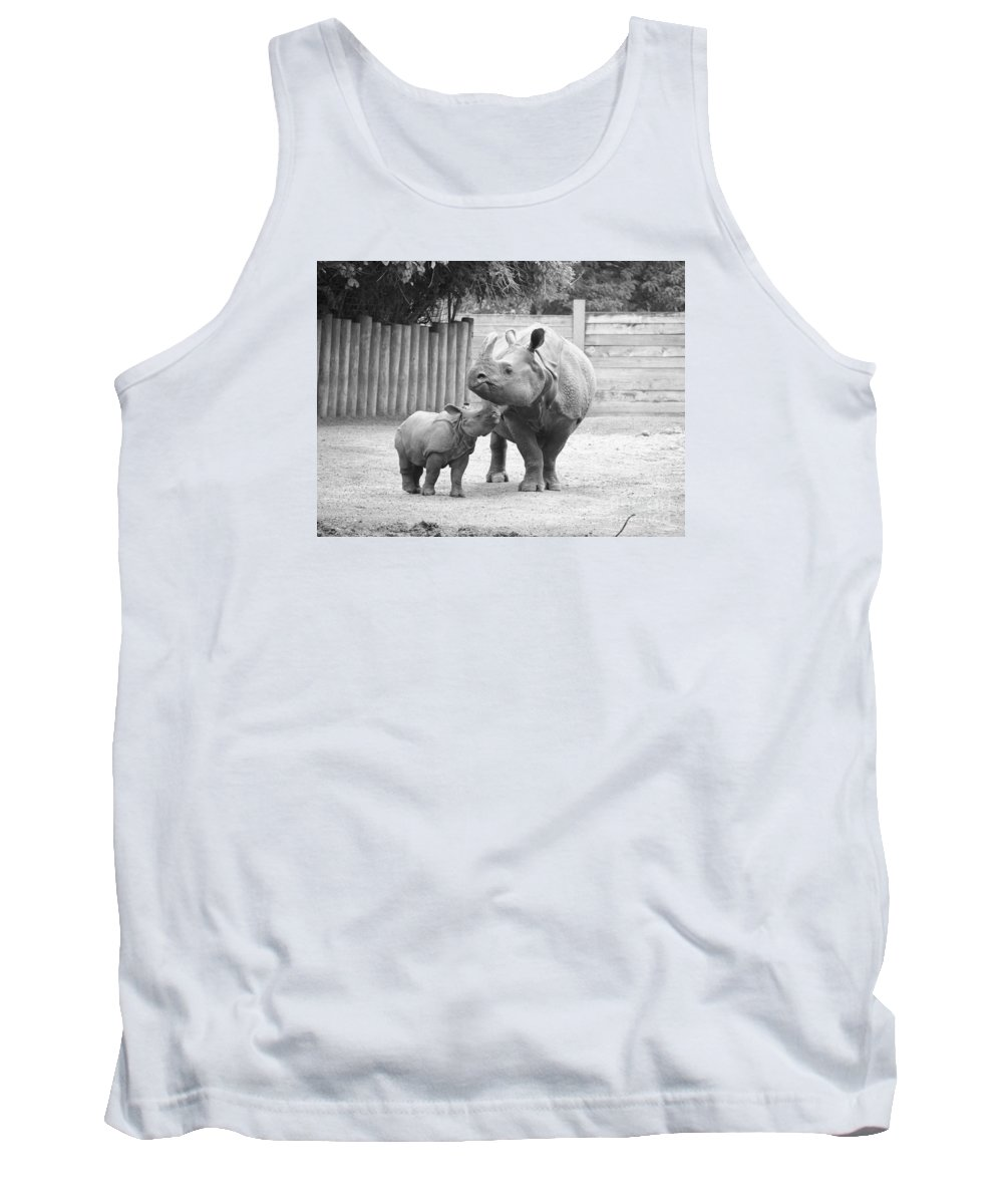 Rhino Tank Top featuring the photograph Rhino Mom And Baby by Jennifer Craft
