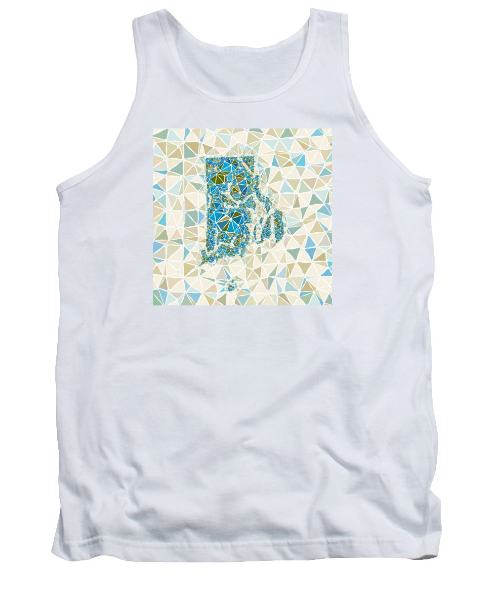 Usa Tank Top featuring the digital art Rhode Island State Map Geometric Abstract Pattern by Hieu Tran