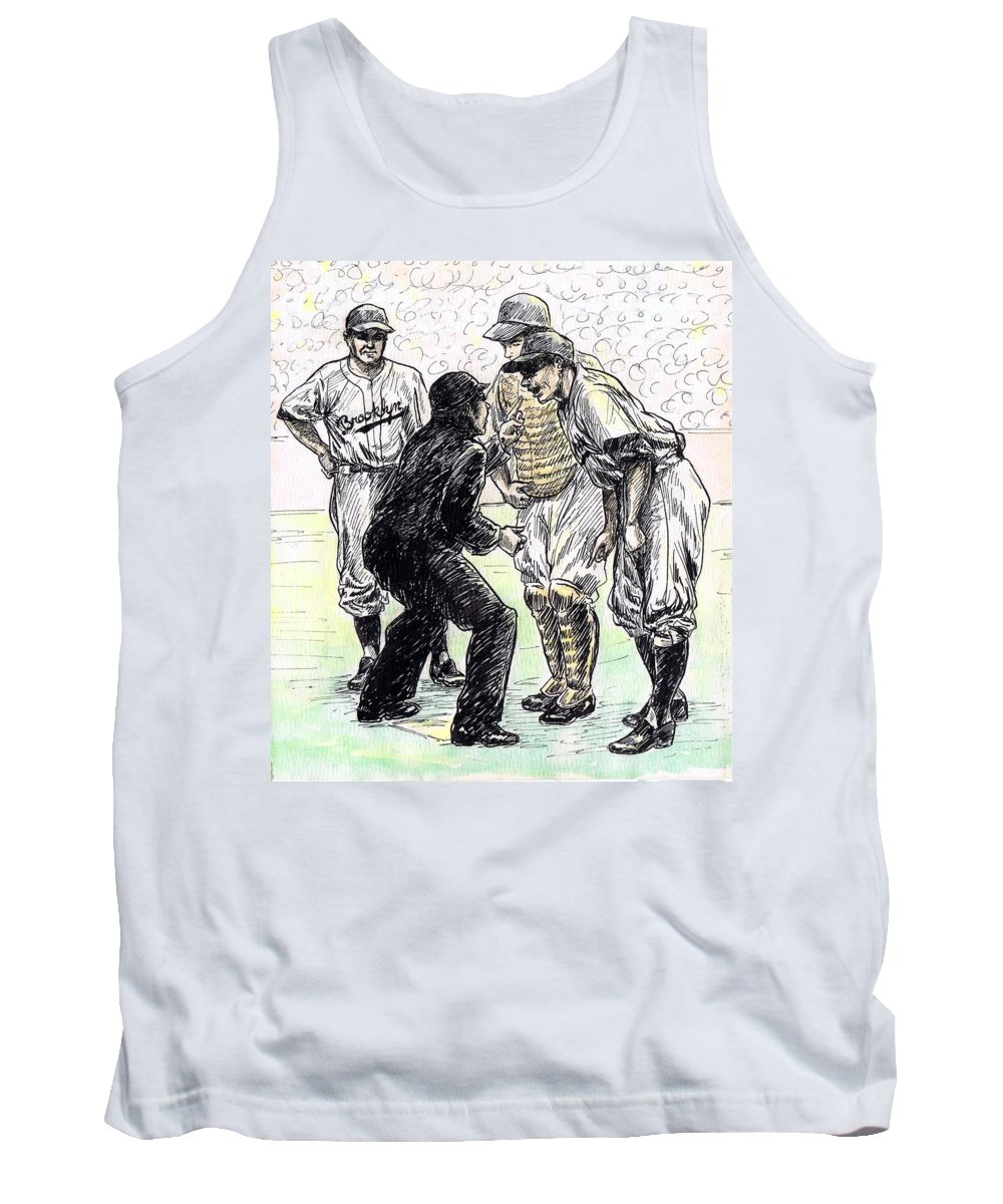 Nostalgia Tank Top featuring the drawing Rhubarb by Mel Thompson