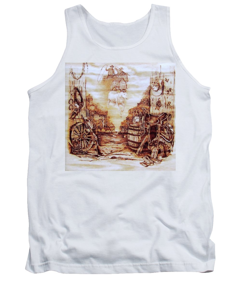 Western Tank Top featuring the pyrography Riders In The Sky by Danette Smith