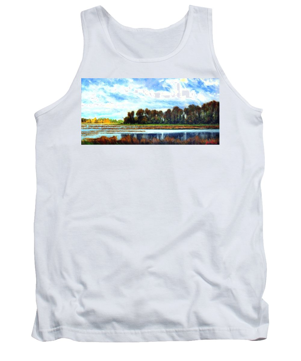 Landscapes Tank Top featuring the painting Ridgefield Refuge Early Fall by Jim Gola