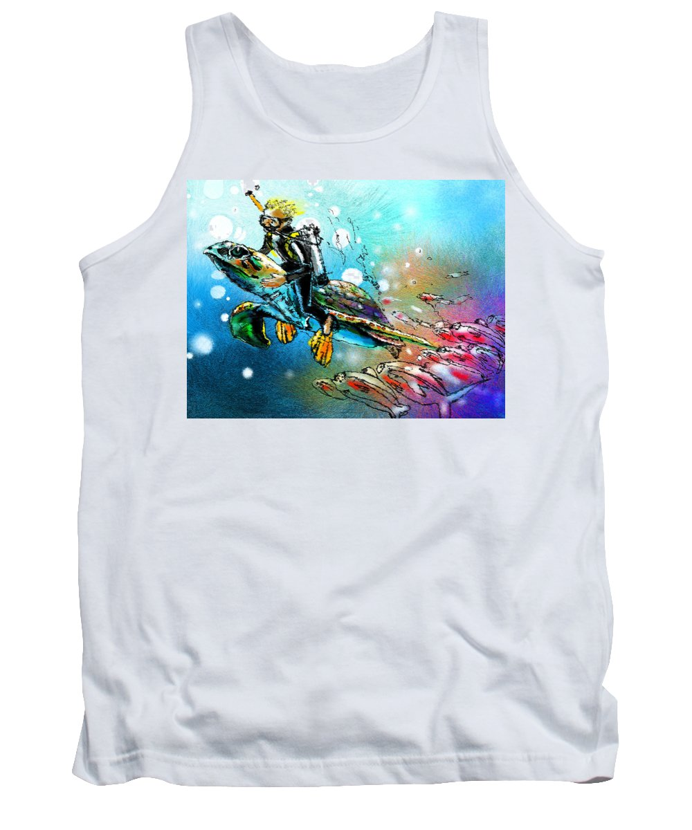 Turtle Painting Tank Top featuring the painting Riding A Turtle by Miki De Goodaboom