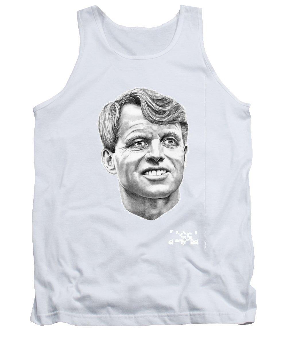 Robert Kennedy Tank Top featuring the drawing Robert Kennedy by Murphy Elliott