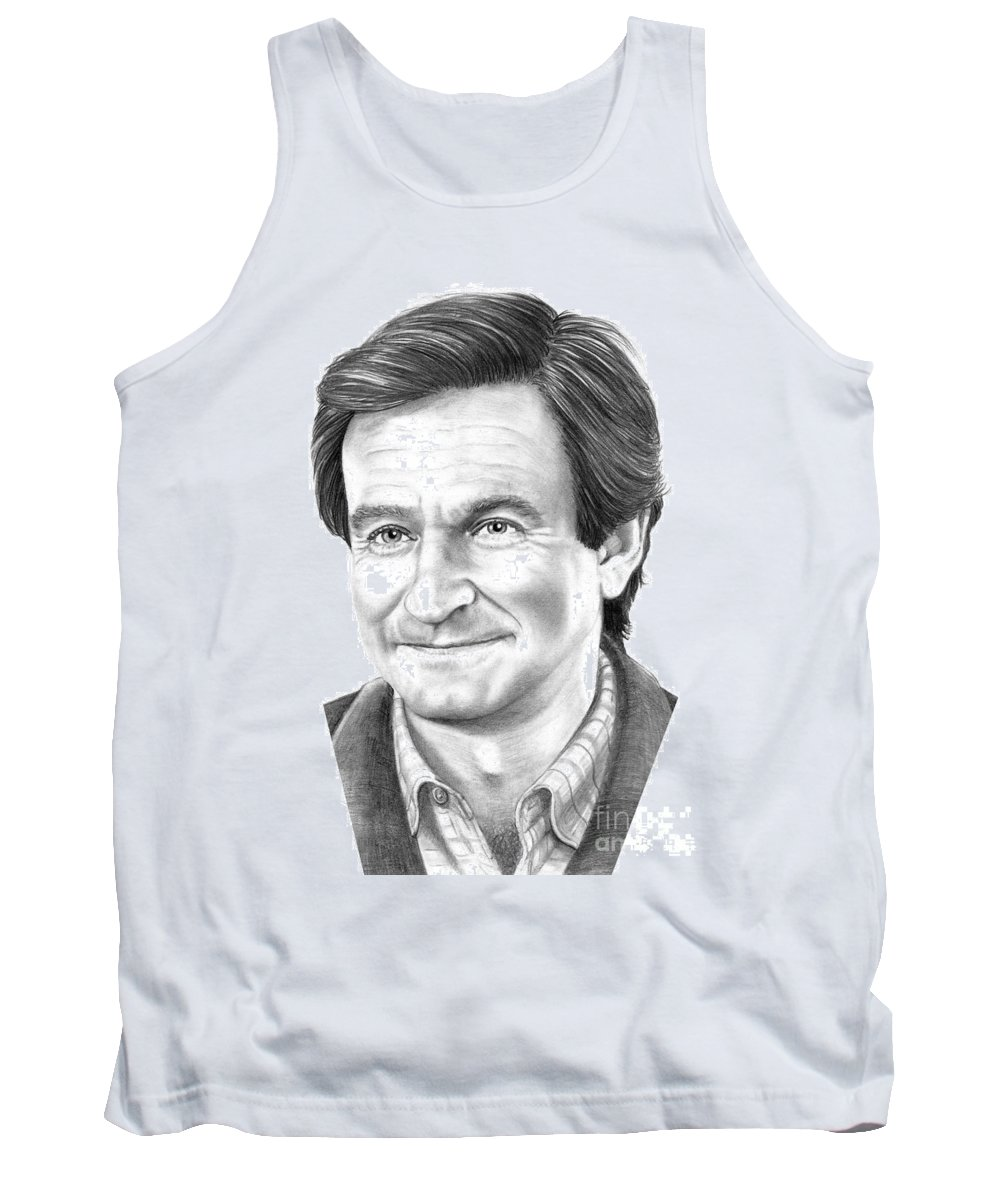 Pencil Tank Top featuring the drawing Robin Williams by Murphy Elliott