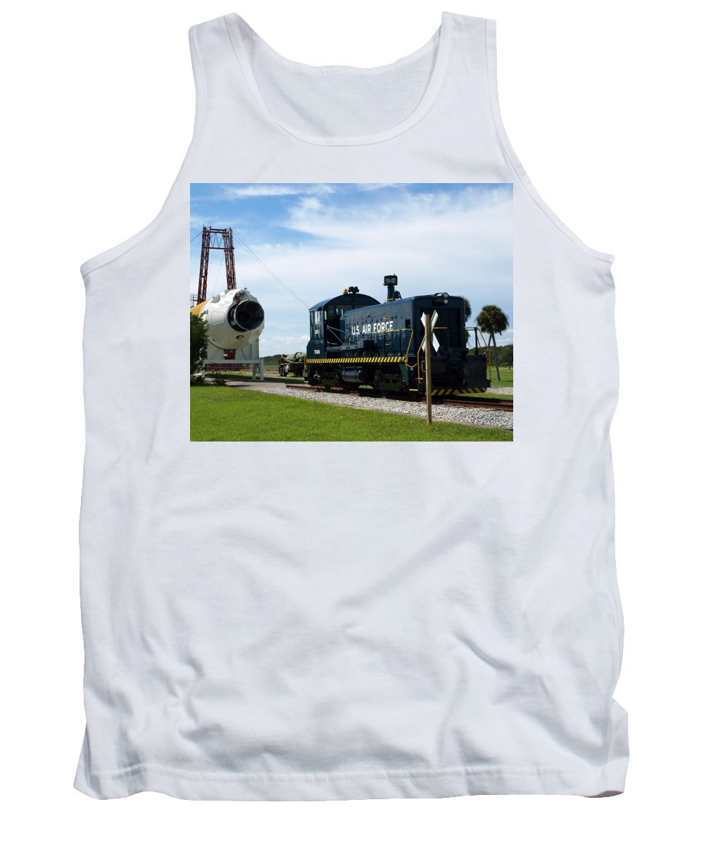 Airforce; Air Force; Air; Force; U.s.; Locomotive; Engine; Rail; Road; Railroad; Railway; Train; Gro Tank Top featuring the photograph Rocket Locomotive At Cape Canaveral In Florida by Allan Hughes