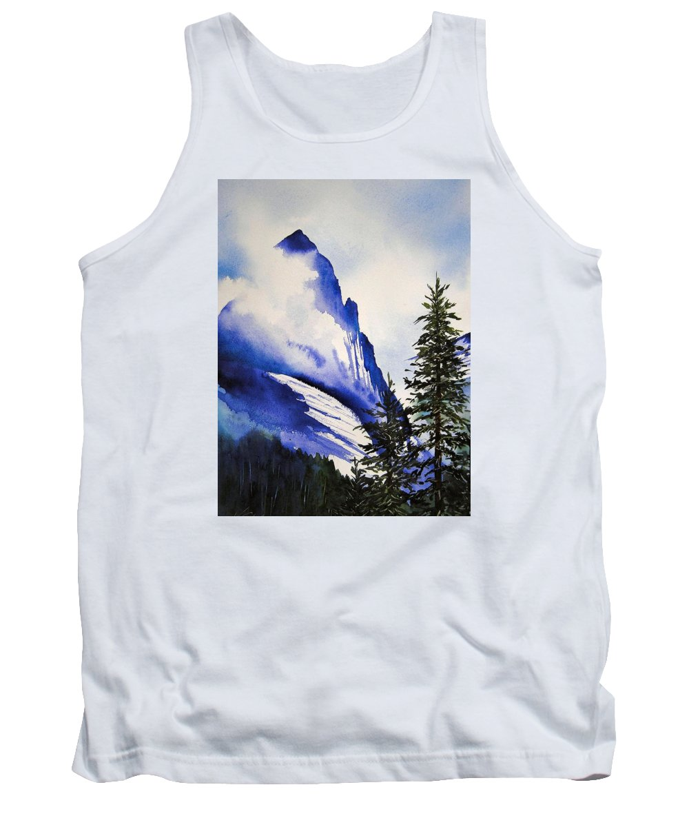 Rocky Mountains Tank Top featuring the painting Rocky Mountain High by Karen Stark